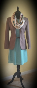 Dress with added blazer and scarf accessory