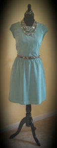 Soft Teal A-Line with Statement Necklace and Belt