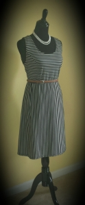 Black and White Striped Dress, brown belt